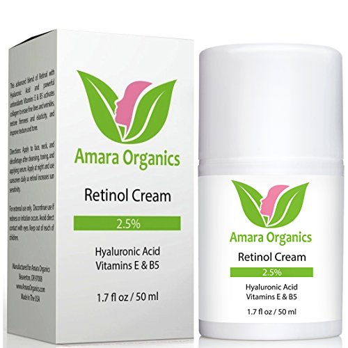 Amara Organics Retinol Cream for Face 2.5% with Hyaluronic